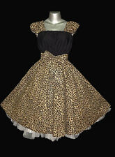 50s ROCKABILLY LEOPARD SWING DRESS 18 20 22  Plus Size Vintage Pin Up Party eMo