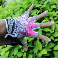 Pink New Women Cycling Bike Bicycle 3D GEL Shockproof Half Finger Glove S/M