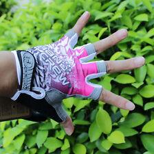 Pink New Women Cycling Bike Bicycle 3D GEL Shockproof Half Finger Glove S/M