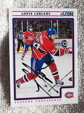 Montreal Canadiens Louis Leblanc Signed 12/13 Score Card Auto