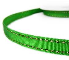 "2 Yds Metallic Gold Side Saddle Stitched Green Grosgrain Ribbon 3/8""W"
