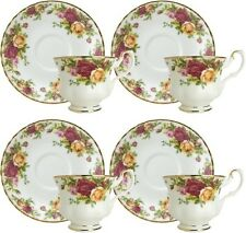 ROYAL ALBERT OLD COUNTRY ROSES 4 x TEACUPS & SAUCERS - NEW/UNUSED