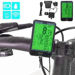 Wireless Bike Speedometer Waterproof Auto LCD Backlight Touch & Remote Button