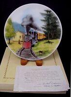 Fenton Glass Smoke 'n Cinders On Opal Satin Train Plate Limited to 1250 MIB COA