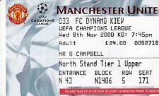 MANCHESTER UNITED V DYNAMO KIEV 8 NOVEMBER 2000 CHAMPIONS LEAGUE TICKET