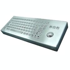 Stainless steel desktop keyboard in Spanish, ñ  key and integrated trackball