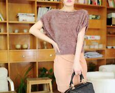 Caldo morbido maglione maglia bolero donna beige girocollo misto lana 4250