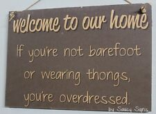 Welcome To Our Home Thongs Grey Sign Shabby Rustic Chic Shoes Beach Holiday Sign