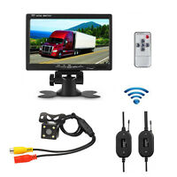 "7"" TFT LCD Monitor+Car SUV Wireless Rear View Back Up Camera Kit  Night Vision"