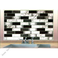 "Black White Marble Tile Foil Backsplash Wall Art Decal 17.7"" x 29.5"" Peel Stick"