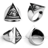Unisex Stainless Steel Casting Triangle All Seeing Eye/Eye of Providence RingsAD