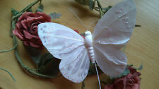 Artificial White Feather Butterfly with Glitter - 10.0cm wingspan