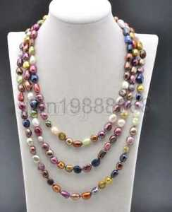 Genuine 8-9 MM Natural Multicolor Freshwater Cultured Pearl Necklace 48'' Long