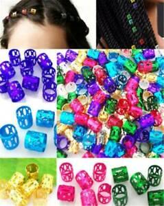 100Pcs Metal Hair Braids Beads Adjustable Tube for Dreadlocks Cuff Clips Wrap