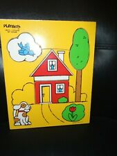 "VINTAGE PLAYSKOOL ""MY HOUSE"" #180-01 5 PIECE WOODEN TRAY PUZZLE"