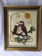 Vintage Complete Love Bird Owls Crewel Needlepoint Cross Stitch Retro Art