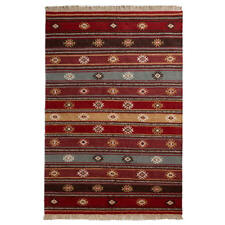 Zanskar Kilim Area Rug 120 x 180cm Wool Cotton Geometric Hand Made Flat Weave