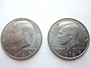 1984 & 1989 Kennedy Half Dollars, Denver Mint Very Fine Condition