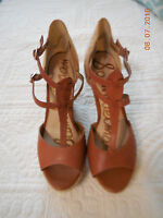 SAM EDELMAN brown leather ankle strap wedge sandals Size 8
