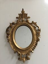 Vintage Small Italian Florentine Ornate Gold Gilt Wall Mirror 9�
