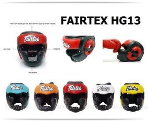 Fairtex Muay Thai Headguard HG13 Full Coverage Diagonal Vision Sparring Head Gea