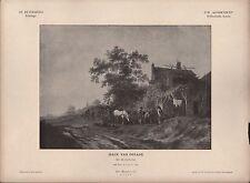 ST. PETERSBURG, Lithografie: XVII. Jh Hollä. Schule Dorfschenke Isack van Ostade