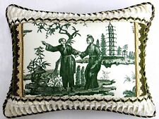 "Scalamandre fabric, ""Canton"" green Toile Designer accent Pillow"