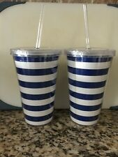 Set of 2 Insulated Lidded Tumbler with Straw 16oz Travel Cups blue white strips