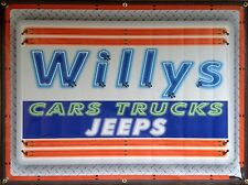 WILLYS CARS TRUCKS JEEPS DEALER STYLE NEON EFFECT PRINT BANNER SIGN ART 4' X 3'