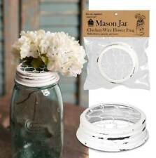 Mason Canning Jar Chicken Wire Flower Frog Lid Organizer Top white finish