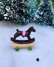 Miniature Dollhouse FAIRY GARDEN ~ Tiny CHRISTMAS Rocking Horse Pull Toy ~ NEW