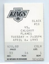 Luc Robitaille 2 goals ticket stub; Calgary Flames at Los Angeles Kings 4/6/1993