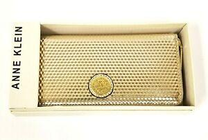 NEW ANNE KLEIN PALE GOLD 3D REFLECTIVE SHINY ZIP AROUND WALLET,CLUTCH