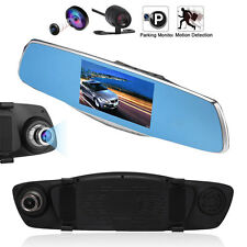 "5"" HD 1080P Car Rearview Mirror DVR Dual Lens Video Dash Cam Camera Night Vision"