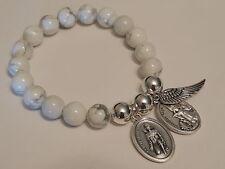ST PEREGRINE & GUARDIAN ANGEL-WHITE HOWLITE STONE STRETCH BRACELET-PROTECTION
