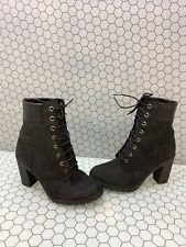 Timberland GLANCY 6 Inch Black Nubuck Lace Up Heeled Boots Women's Size 6
