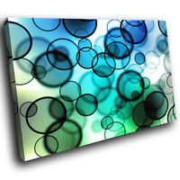 AB122 Blue Green Circles Modern Abstract Canvas Wall Art Large Picture Prints