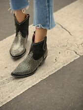 Free People Mexicana Sawyer Ankle Boot Studded Black Western Womens 6 35.5 New