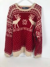 Polo Ralph Lauren $225 Merino Wool Reindeer Hand Knit Winter XMAS Sweater XL