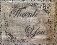 Primitive Burlap Thank You Sign Banner Panel Appliqué Barn Wedding Baby Shower