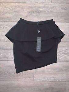 Alex Christopher Peplum Mini Skirt - Black - 10