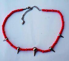Orange Bead With Silver Beads Choker Necklace Men Women Unisex Jewelry