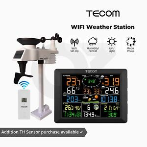 Tecom Wifi Weather Station Solar Panel LCD Display Battery Wireless TH Sensor