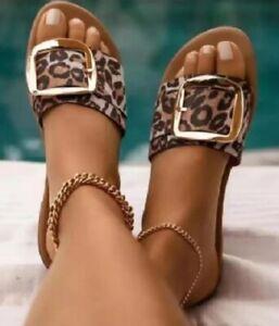 Womens Leopard Print Large Buckle Accent Flat Slip On Slide Sandals Summer Beach