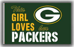 Green Bay Packers Football BEST Flag 90x150cm3x5ft This Girl Loves her PACKERS