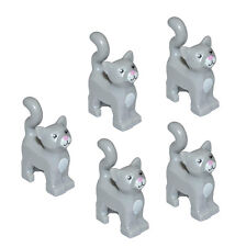 LEGO 5 pcs NEW LIGHT GREY CAT Standing Pet Kitten Animal Minifigure Series 10668