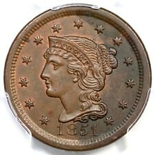 1851 N-7 PCGS MS 62 BN Braided Hair Large Cent Coin 1c