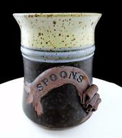 "CATHY SIGNED STUDIO ART POTTERY SPECKLED MATTE GLAZE STONEWARE 6 3/4"" SPOONER"