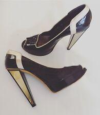 VERSACE Platforms Patent Leather Gold Mirror High Heels Stilettos Size 40 Au 10
