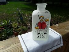 Frosted White Vintage Gin Decanter With Cartoon Bartender. No Stopper. Barware.